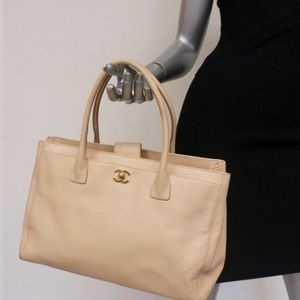 Chanel Executive Cerf Tote Light Beige Grained